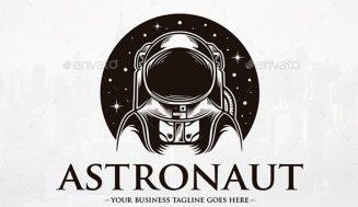 Astronauta, Dibujo para Logotipo en Blanco y Negro
