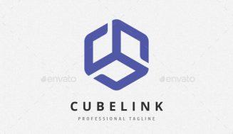 Logo en forma de cubo 3D. Figura geométrica para Logotipo.