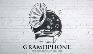 Logotipo músical con un Gramófono antiguo.